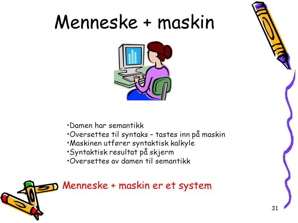 31 Menneske + maskin Damen har semantikk Oversettes til syntaks – tastes inn på maskin Maskinen utfører syntaktisk kalkyle Syntaktisk resultat på skjerm Oversettes av damen til semantikk Menneske + maskin er et system