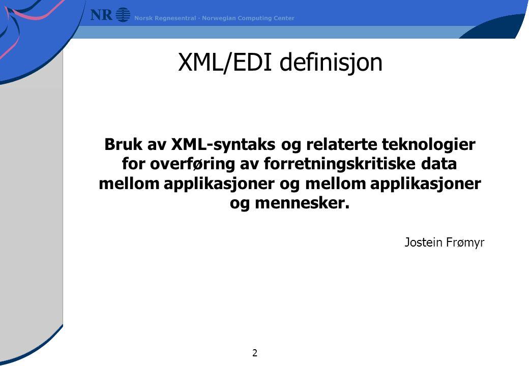 3 1980 1985 1990 1995 2000 År EDIFACT ISO standard XML Relasjons databaser Objektorienterte databaser Internett åpnes Browser XML/EDI X.400 Hierarkiske databaserUra XML/EDI og litt historie Båndbredde- kostnad Lagrings- kostnad # Handelspartnere som kan nås CPU- kostnad