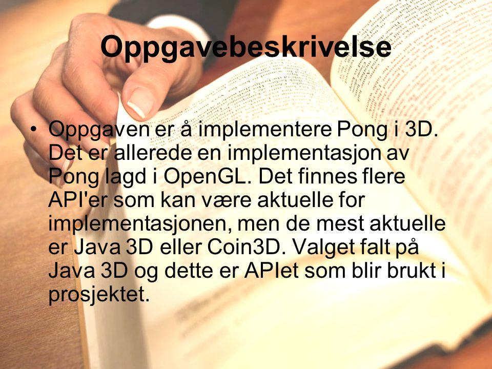 Oppgavebeskrivelse Oppgaven er å implementere Pong i 3D.