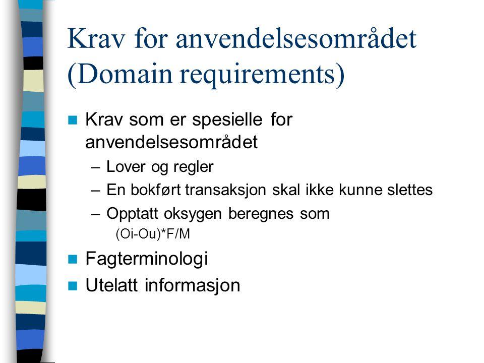 Krav for anvendelsesområdet (Domain requirements) Krav som er spesielle for anvendelsesområdet –Lover og regler –En bokført transaksjon skal ikke kunne slettes –Opptatt oksygen beregnes som (Oi-Ou)*F/M Fagterminologi Utelatt informasjon