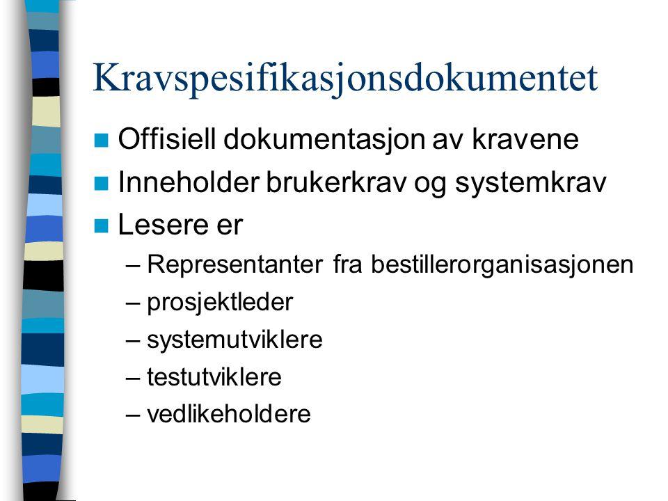 Kravspesifikasjonsdokumentet Offisiell dokumentasjon av kravene Inneholder brukerkrav og systemkrav Lesere er –Representanter fra bestillerorganisasjonen –prosjektleder –systemutviklere –testutviklere –vedlikeholdere