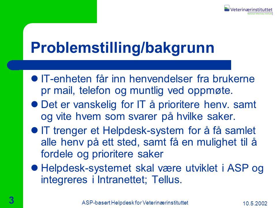 10.5.2002 ASP-basert Helpdesk for Veterinærinstituttet 3 Problemstilling/bakgrunn IT-enheten får inn henvendelser fra brukerne pr mail, telefon og muntlig ved oppmøte.