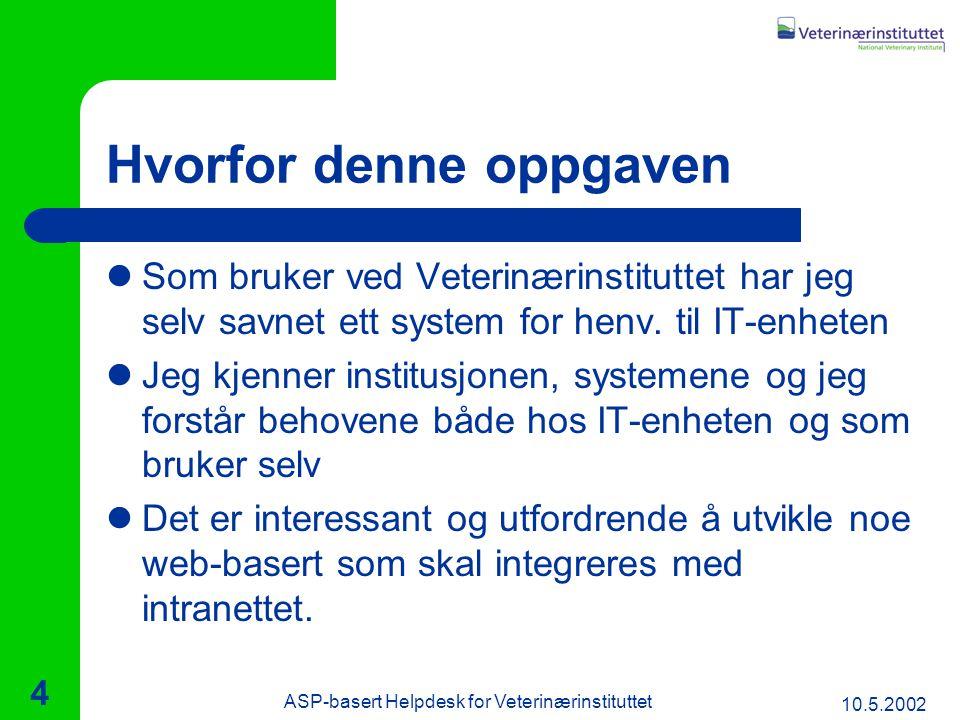 10.5.2002 ASP-basert Helpdesk for Veterinærinstituttet 4 Hvorfor denne oppgaven Som bruker ved Veterinærinstituttet har jeg selv savnet ett system for henv.