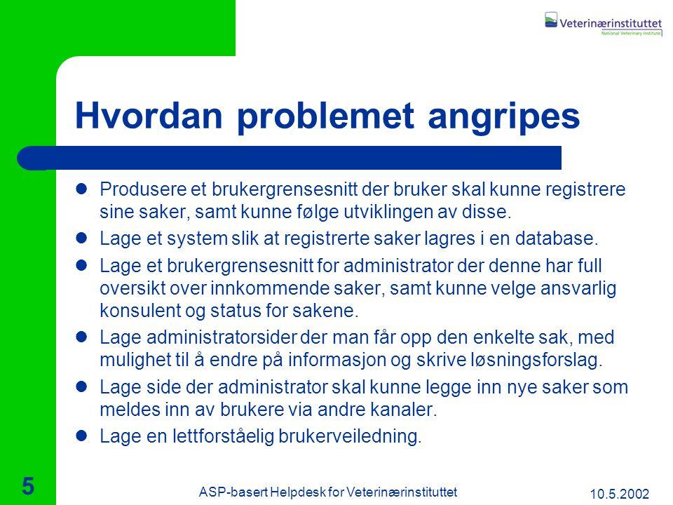 10.5.2002 ASP-basert Helpdesk for Veterinærinstituttet 5 Hvordan problemet angripes Produsere et brukergrensesnitt der bruker skal kunne registrere sine saker, samt kunne følge utviklingen av disse.