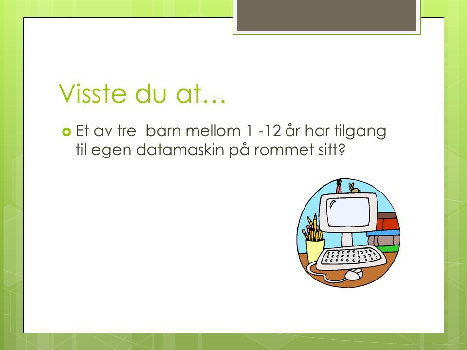 Visste du at…  Et av tre barn mellom 1 -12 år har tilgang til egen datamaskin på rommet sitt?