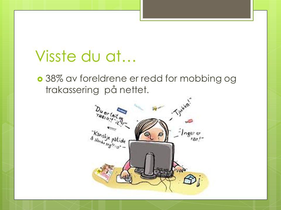 Visste du at…  38% av foreldrene er redd for mobbing og trakassering på nettet.