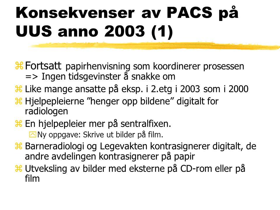 Konsekvenser av PACS på UUS anno 2003 (1) zFortsatt papirhenvisning som koordinerer prosessen => Ingen tidsgevinster å snakke om zLike mange ansatte på eksp.