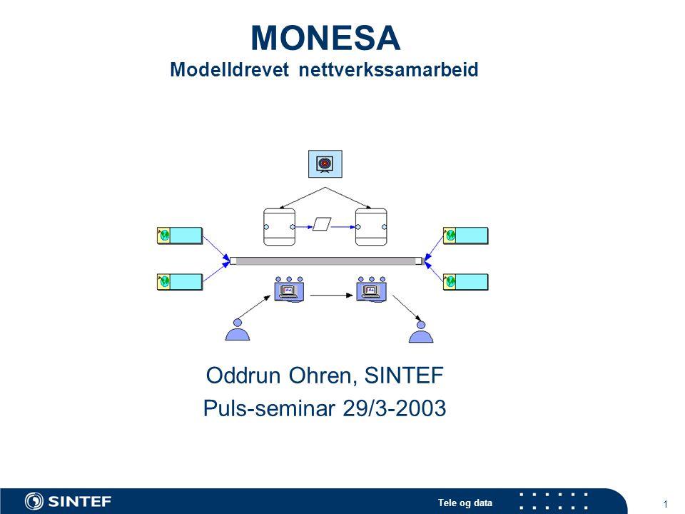 Tele og data 2 MONESA: brukerstyrt innovasjonsprosjekt (BIP) innen PULS 2003-2005 Partnere DNV (Sertifisering, Research) (utprøvningsarena, forskning, hovedsøker) Forsvaret (ved FO/I), (utprøvningsarena) Computas (teknologileverandør) SINTEF (forskning, prosjektledelse) Mål Understøtte nettverkssamarbeid mer effektivt for de to medvirkende virksomhetene (DnV og Forsvaret) Å bidra til videreutvikling av metoder og teknologi for å understøtte nettverkssamarbeid Modelleringsteknikker Generering av arbeidsflater som understøtter nettverkssamarbeid basert på modeller Å fremskaffe nye forskningsresultater innen modellbasert støtte for nettverkssamarbeid Evaluering og videreutvikling av modelleringsteknikker og modelleringsspråk Utprøving av teknikker for aktivering av modeller Totalramme 13.525', 38.8% dekkes av forskningsrådet Internasjonal gjesteforsker (Jörg Haake, FernUniversitet Hagen, Tyskland)
