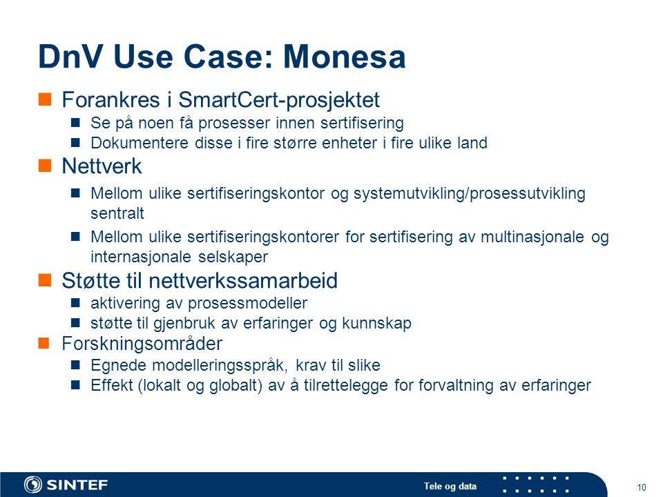 Tele og data 10 DnV Use Case: Monesa Forankres i SmartCert-prosjektet Se på noen få prosesser innen sertifisering Dokumentere disse i fire større enhe