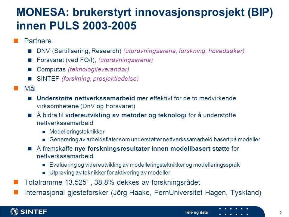 Tele og data 2 MONESA: brukerstyrt innovasjonsprosjekt (BIP) innen PULS 2003-2005 Partnere DNV (Sertifisering, Research) (utprøvningsarena, forskning,