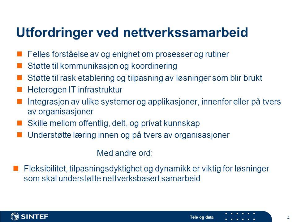Tele og data 4 Utfordringer ved nettverkssamarbeid Felles forståelse av og enighet om prosesser og rutiner Støtte til kommunikasjon og koordinering St