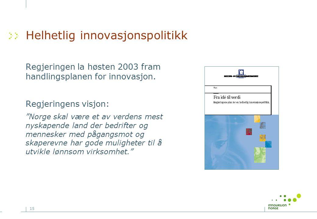 """15 Helhetlig innovasjonspolitikk Regjeringen la høsten 2003 fram handlingsplanen for innovasjon. Regjeringens visjon: """"Norge skal være et av verdens m"""