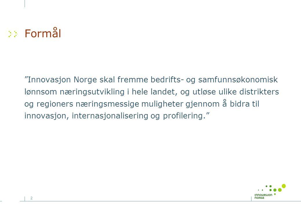 """2 Formål """"Innovasjon Norge skal fremme bedrifts- og samfunnsøkonomisk lønnsom næringsutvikling i hele landet, og utløse ulike distrikters og regioners"""