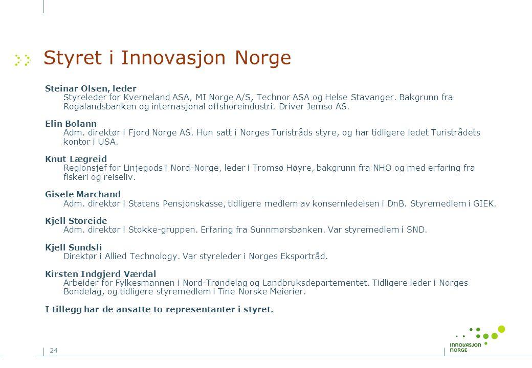24 Styret i Innovasjon Norge Steinar Olsen, leder Styreleder for Kverneland ASA, MI Norge A/S, Technor ASA og Helse Stavanger. Bakgrunn fra Rogalandsb