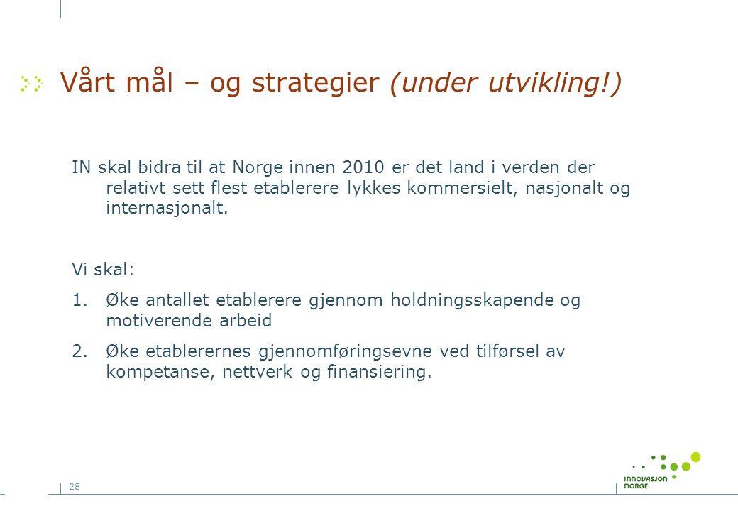 28 Vårt mål – og strategier (under utvikling!) IN skal bidra til at Norge innen 2010 er det land i verden der relativt sett flest etablerere lykkes ko