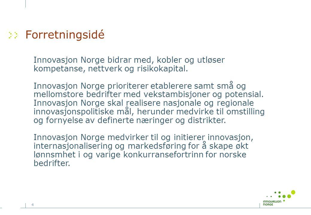 4 Forretningsidé Innovasjon Norge bidrar med, kobler og utløser kompetanse, nettverk og risikokapital. Innovasjon Norge prioriterer etablerere samt sm