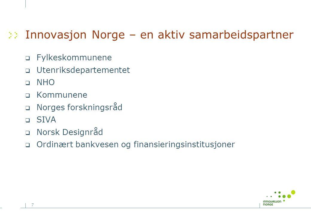 7 Innovasjon Norge – en aktiv samarbeidspartner  Fylkeskommunene  Utenriksdepartementet  NHO  Kommunene  Norges forskningsråd  SIVA  Norsk Desi