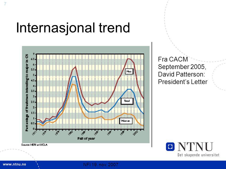 7 NFI 19. nov. 2007 Internasjonal trend Fra CACM September 2005, David Patterson: President's Letter