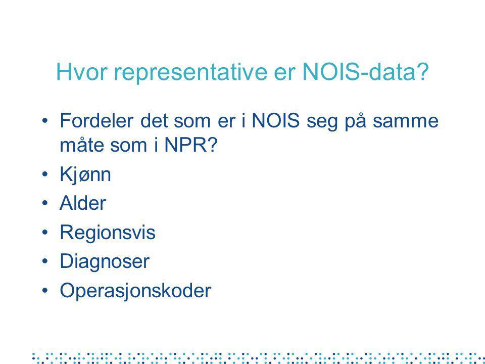 Hvor representative er NOIS-data? Fordeler det som er i NOIS seg på samme måte som i NPR? Kjønn Alder Regionsvis Diagnoser Operasjonskoder