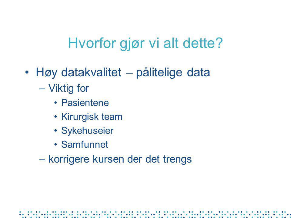 Hvorfor gjør vi alt dette? Høy datakvalitet – pålitelige data –Viktig for Pasientene Kirurgisk team Sykehuseier Samfunnet –korrigere kursen der det tr