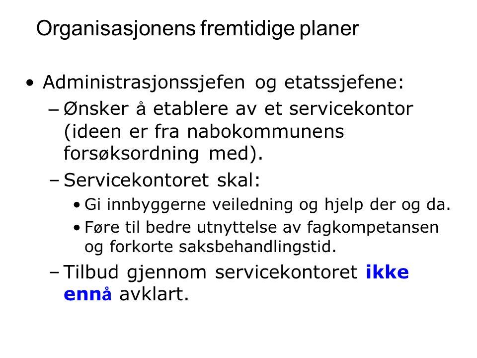Organisasjonens fremtidige planer Administrasjonssjefen og etatssjefene: –Ø nsker å etablere av et servicekontor (ideen er fra nabokommunens fors ø ksordning med).