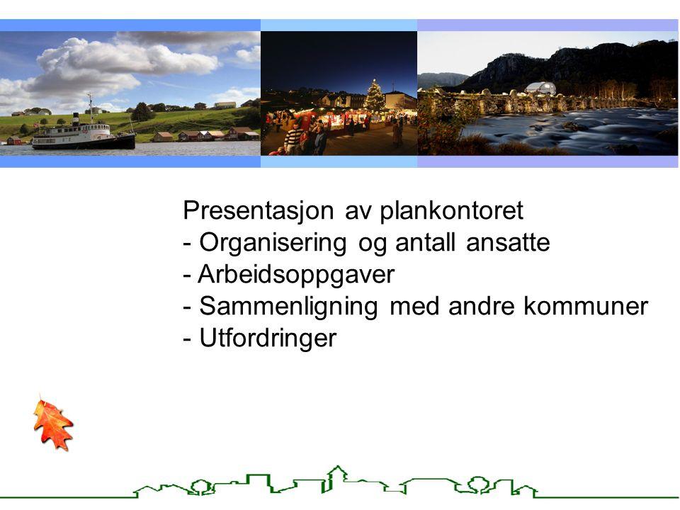 Kommunens plansystem Presentasjon av plankontoret - Organisering og antall ansatte - Arbeidsoppgaver - Sammenligning med andre kommuner - Utfordringer