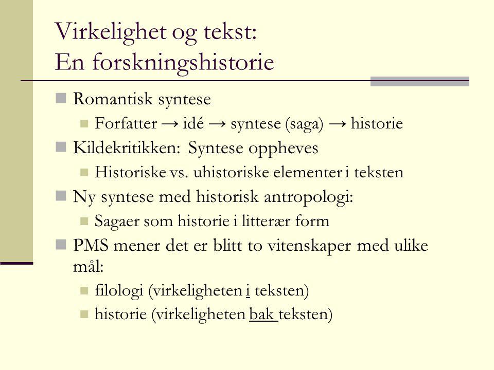 Virkelighet og tekst: En forskningshistorie Romantisk syntese Forfatter → idé → syntese (saga) → historie Kildekritikken: Syntese oppheves Historiske vs.