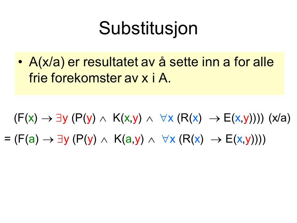 Substitusjon A(x/a) er resultatet av å sette inn a for alle frie forekomster av x i A.