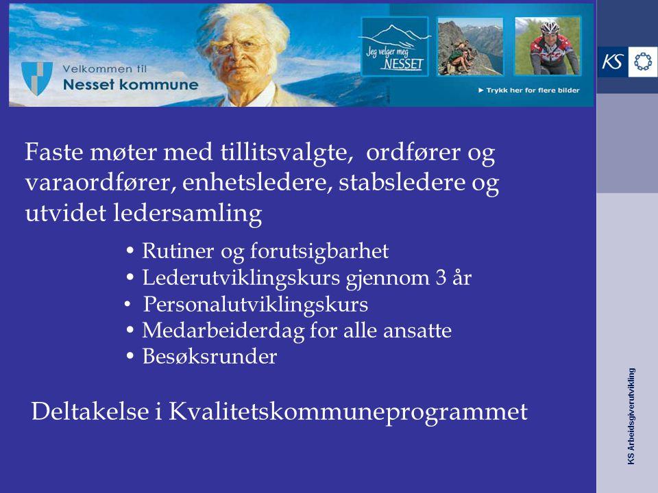KS Arbeidsgiverutvikling Nesset kommune – fra 10 til 6 Faste møter med tillitsvalgte, ordfører og varaordfører, enhetsledere, stabsledere og utvidet l