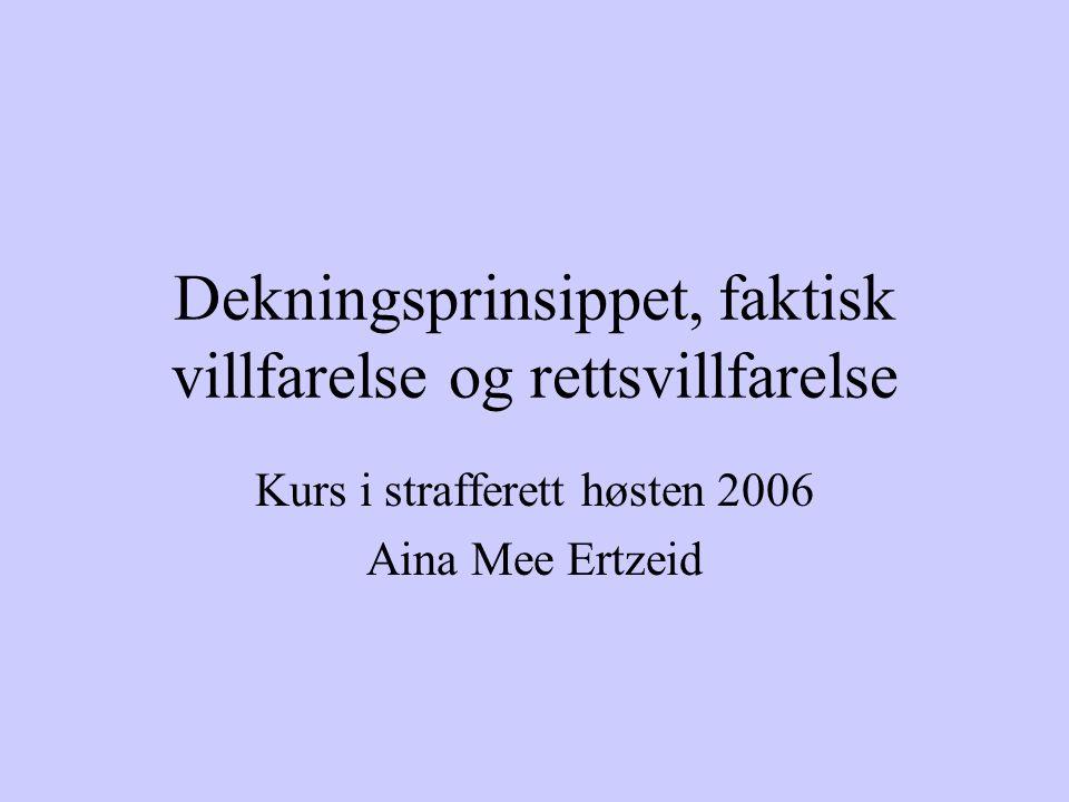 Dekningsprinsippet, faktisk villfarelse og rettsvillfarelse Kurs i strafferett høsten 2006 Aina Mee Ertzeid