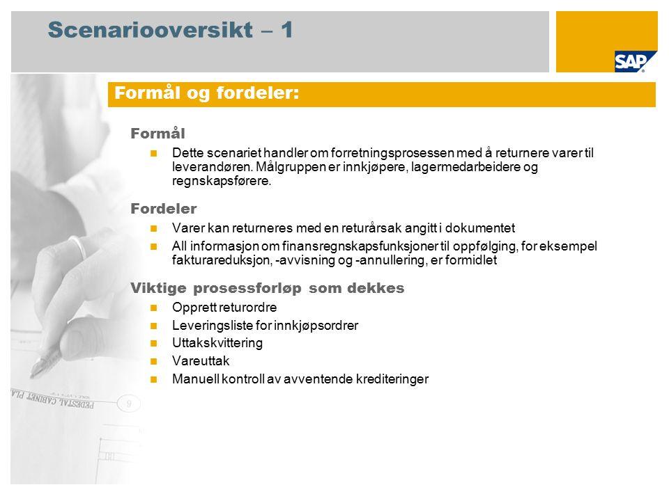 Scenariooversikt – 2 Obligatorisk SAP enhancement package 4 for SAP ERP 6.0 Brukerroller involvert i prosessforløp Innkjøper Lagersjef Regnskapsfører for kreditorreskontro SAP-applikasjoner som kreves: