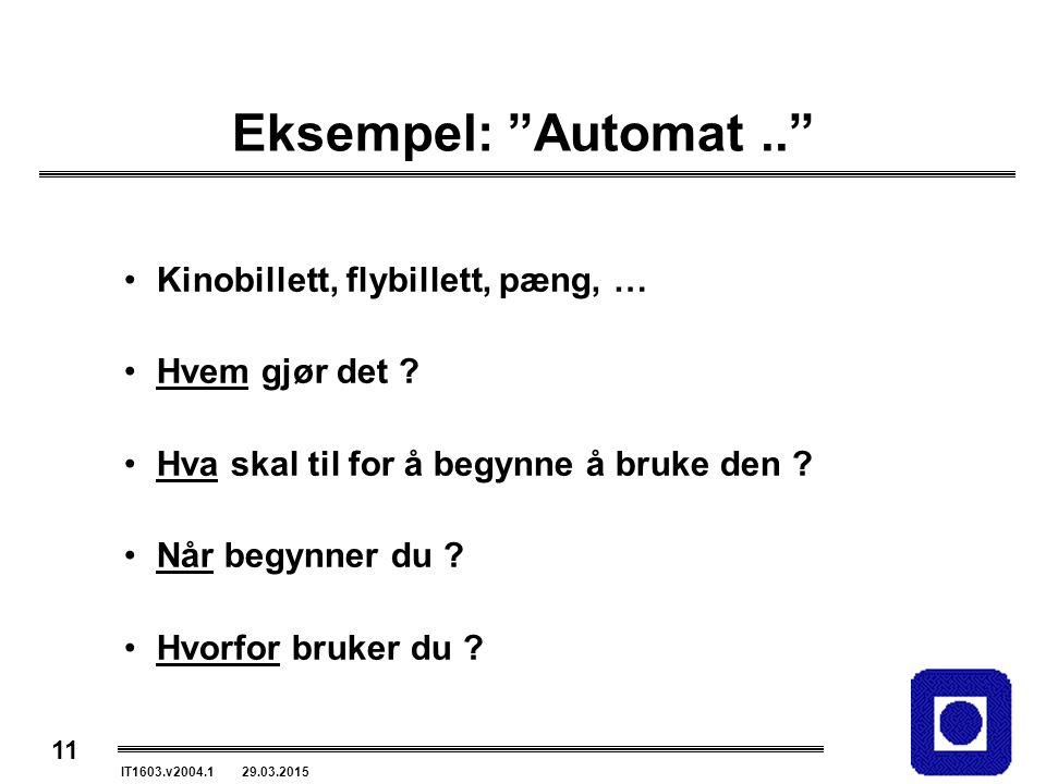 11 IT1603.v2004.1 29.03.2015 Eksempel: Automat.. Kinobillett, flybillett, pæng, … Hvem gjør det .