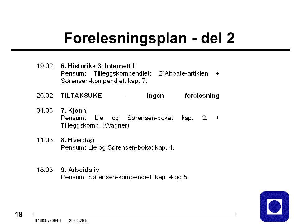18 IT1603.v2004.1 29.03.2015 Forelesningsplan - del 2