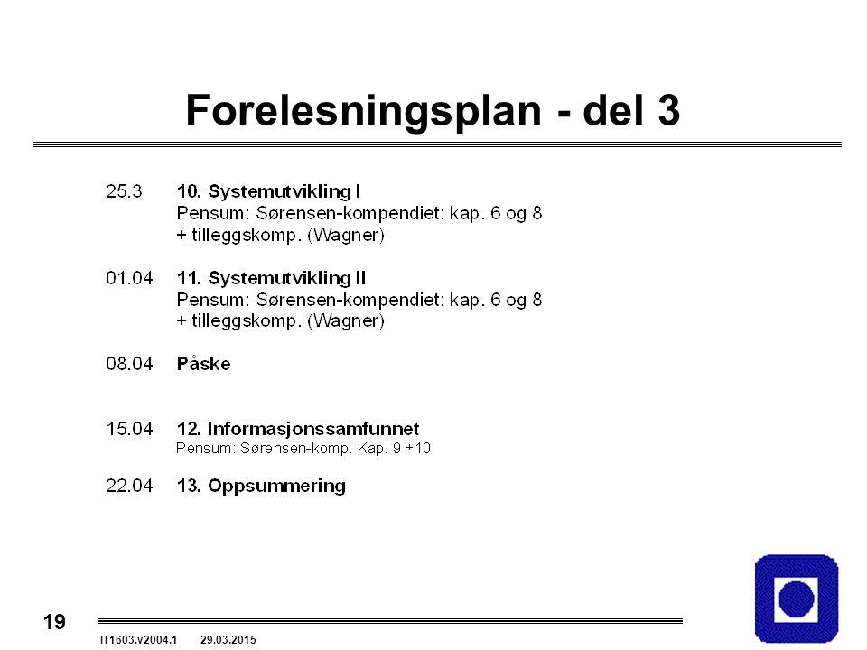 19 IT1603.v2004.1 29.03.2015 Forelesningsplan - del 3