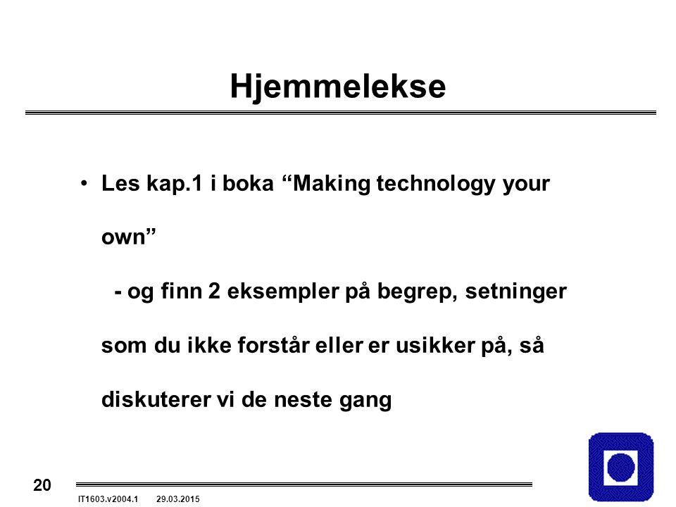 """20 IT1603.v2004.1 29.03.2015 Hjemmelekse Les kap.1 i boka """"Making technology your own"""" - og finn 2 eksempler på begrep, setninger som du ikke forstår"""
