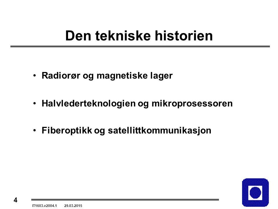 4 IT1603.v2004.1 29.03.2015 Den tekniske historien Radiorør og magnetiske lager Halvlederteknologien og mikroprosessoren Fiberoptikk og satellittkommunikasjon