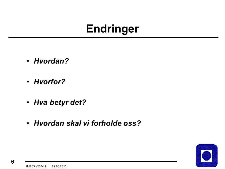 6 IT1603.v2004.1 29.03.2015 Endringer Hvordan. Hvorfor.
