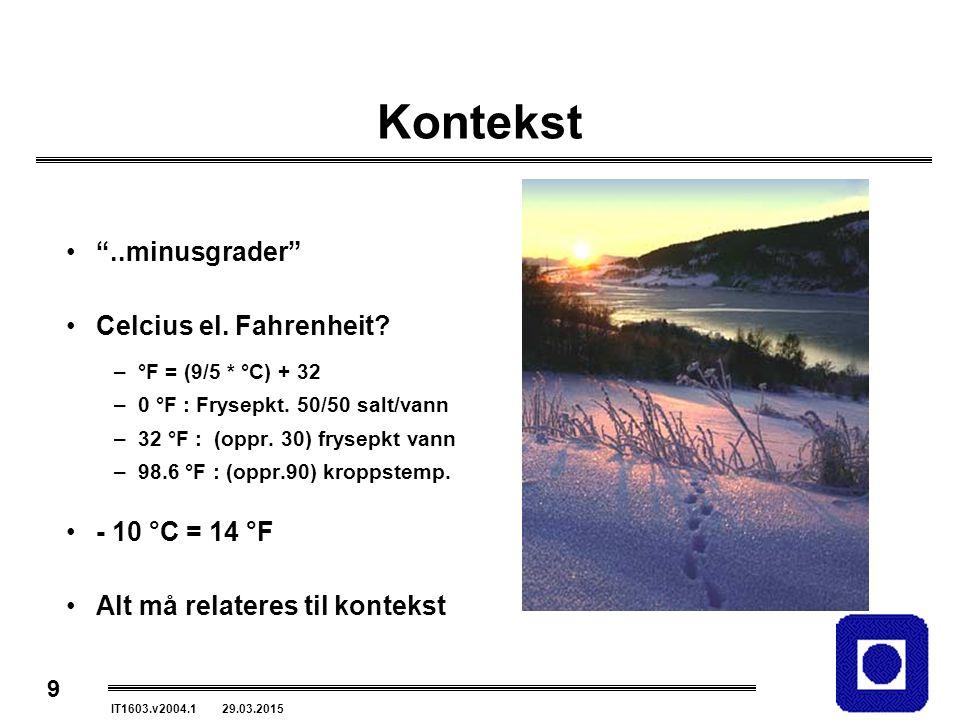 "9 IT1603.v2004.1 29.03.2015 Kontekst ""..minusgrader"" Celcius el. Fahrenheit? –°F = (9/5 * °C) + 32 –0 °F : Frysepkt. 50/50 salt/vann –32 °F : (oppr. 3"