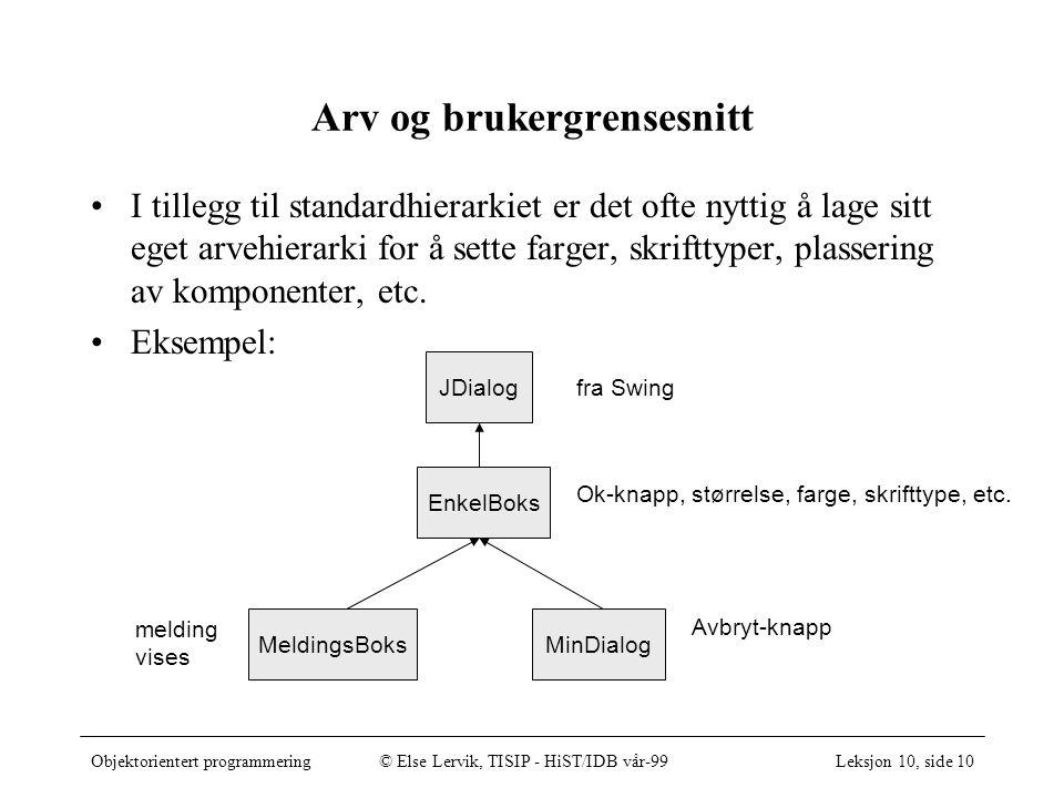 Objektorientert programmering© Else Lervik, TISIP - HiST/IDB vår-99Leksjon 10, side 10 Arv og brukergrensesnitt I tillegg til standardhierarkiet er det ofte nyttig å lage sitt eget arvehierarki for å sette farger, skrifttyper, plassering av komponenter, etc.