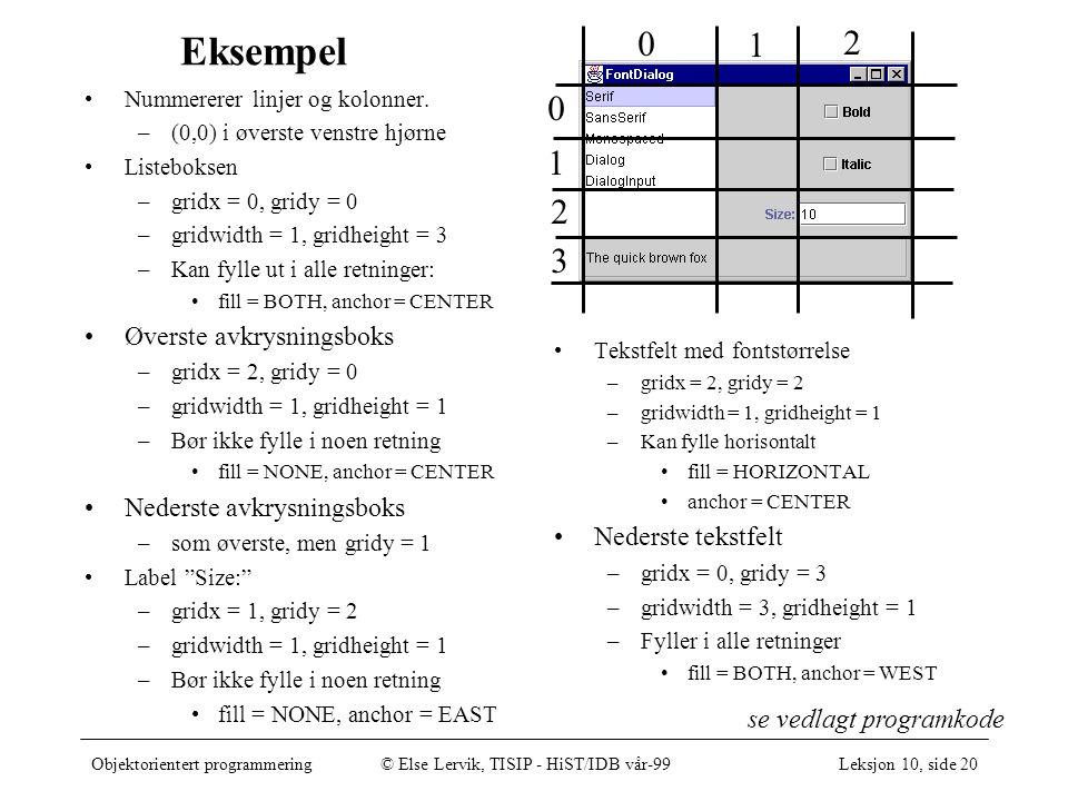 Objektorientert programmering© Else Lervik, TISIP - HiST/IDB vår-99Leksjon 10, side 20 Eksempel Nummererer linjer og kolonner.