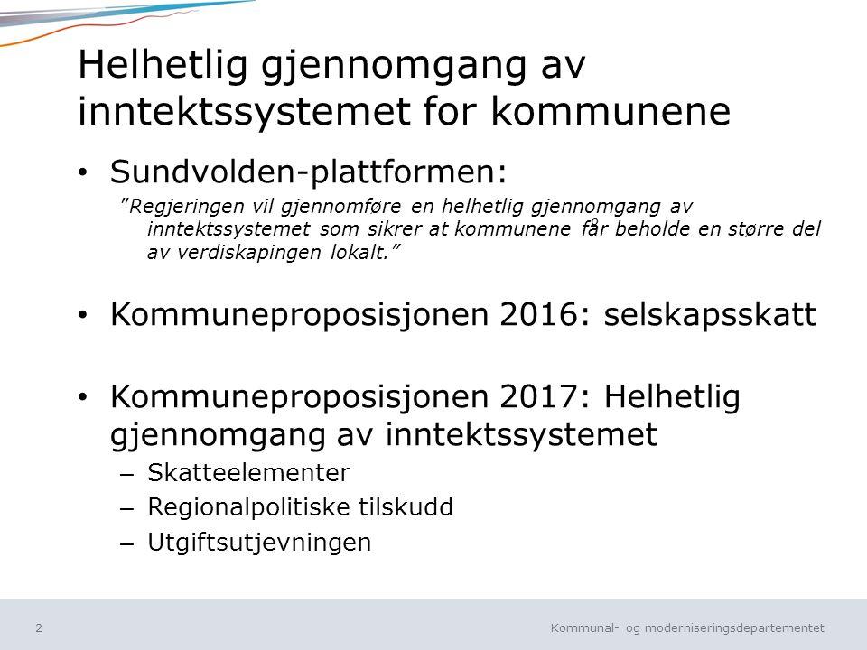 Kommunal- og moderniseringsdepartementet Norsk mal: Tekst med kulepunkt Tips bunntekst: For å sidenummer, dato, og tittel på presentasjon: Klikk på Sett Inn -> Topp og bunntekst -> Huk av for ønsket tekst.