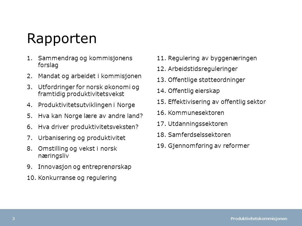 Produktivitetskommisjonen Norsk mal: To innholdsdeler - Sammenlikning Tips farger: FINs fargepalett er lagt inn i malen og vil brukes automatisk i diagrammer og grafer Rapporten 1.Sammendrag og kommisjonens forslag 2.Mandat og arbeidet i kommisjonen 3.Utfordringer for norsk økonomi og framtidig produktivitetsvekst 4.Produktivitetsutviklingen i Norge 5.Hva kan Norge lære av andre land.