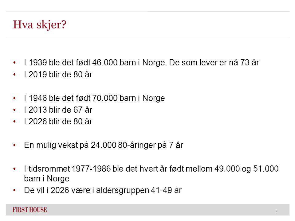 Hva skjer? I 1939 ble det født 46.000 barn i Norge. De som lever er nå 73 år I 2019 blir de 80 år I 1946 ble det født 70.000 barn i Norge I 2013 blir