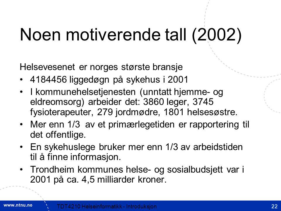 22TDT4210 Helseinformatikk - Introduksjon Noen motiverende tall (2002) Helsevesenet er norges største bransje 4184456 liggedøgn på sykehus i 2001 I kommunehelsetjenesten (unntatt hjemme- og eldreomsorg) arbeider det: 3860 leger, 3745 fysioterapeuter, 279 jordmødre, 1801 helsesøstre.
