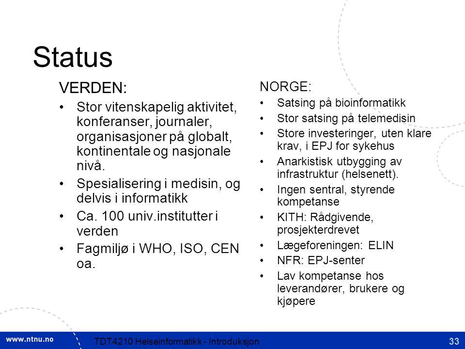 33TDT4210 Helseinformatikk - Introduksjon Status VERDEN: Stor vitenskapelig aktivitet, konferanser, journaler, organisasjoner på globalt, kontinentale og nasjonale nivå.