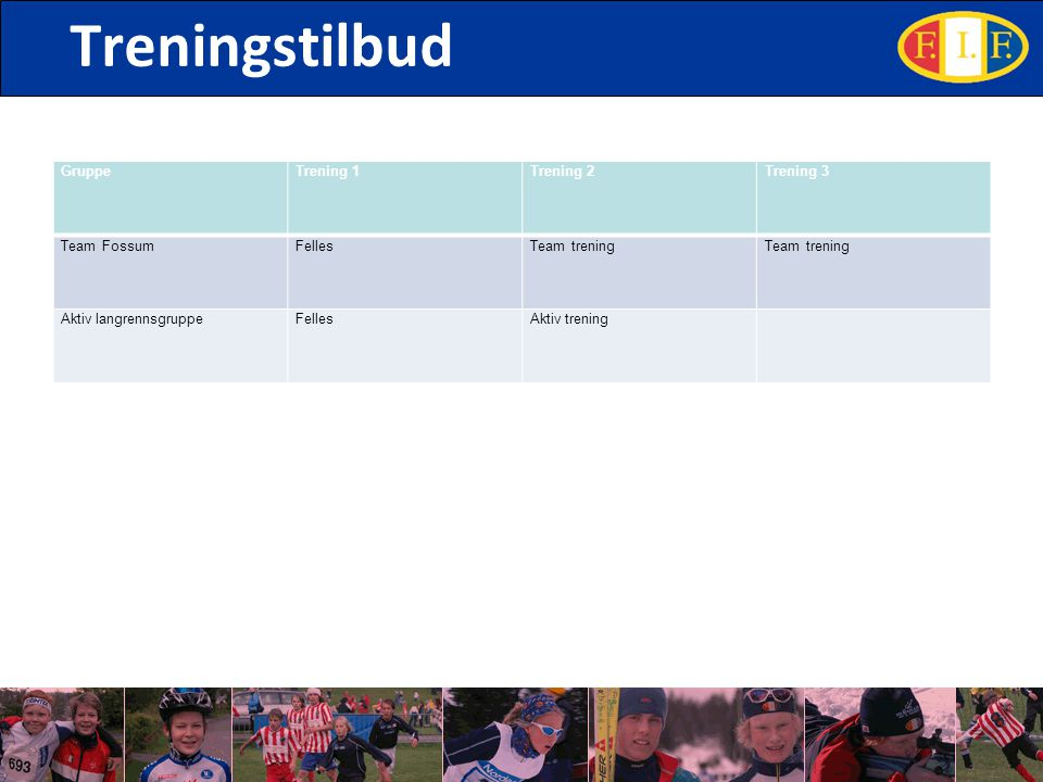 Treningstilbud GruppeTrening 1Trening 2Trening 3 Team FossumFellesTeam trening Aktiv langrennsgruppeFellesAktiv trening