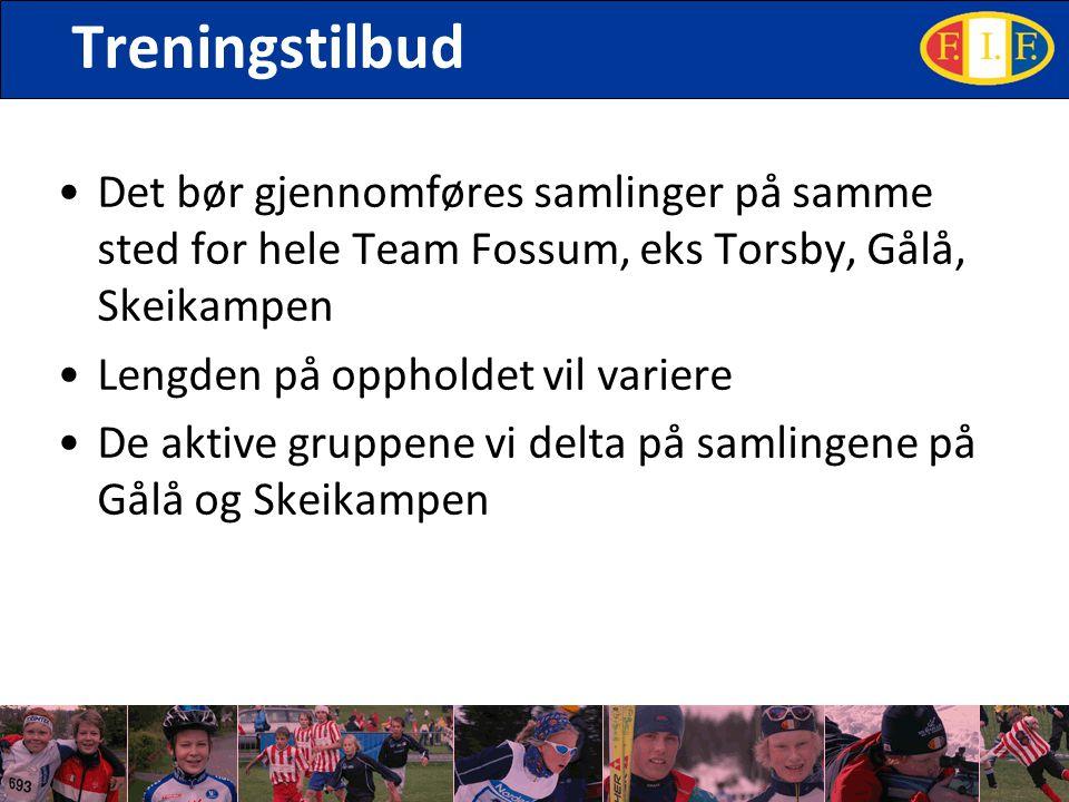 Treningstilbud Det bør gjennomføres samlinger på samme sted for hele Team Fossum, eks Torsby, Gålå, Skeikampen Lengden på oppholdet vil variere De akt