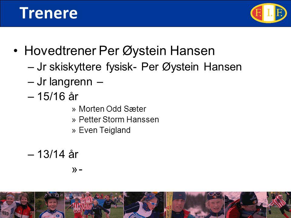 Trenere Hovedtrener Per Øystein Hansen –Jr skiskyttere fysisk- Per Øystein Hansen –Jr langrenn – –15/16 år »Morten Odd Sæter »Petter Storm Hanssen »Even Teigland –13/14 år »-