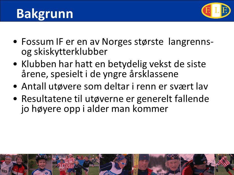 Bakgrunn Fossum IF er en av Norges største langrenns- og skiskytterklubber Klubben har hatt en betydelig vekst de siste årene, spesielt i de yngre årsklassene Antall utøvere som deltar i renn er svært lav Resultatene til utøverne er generelt fallende jo høyere opp i alder man kommer