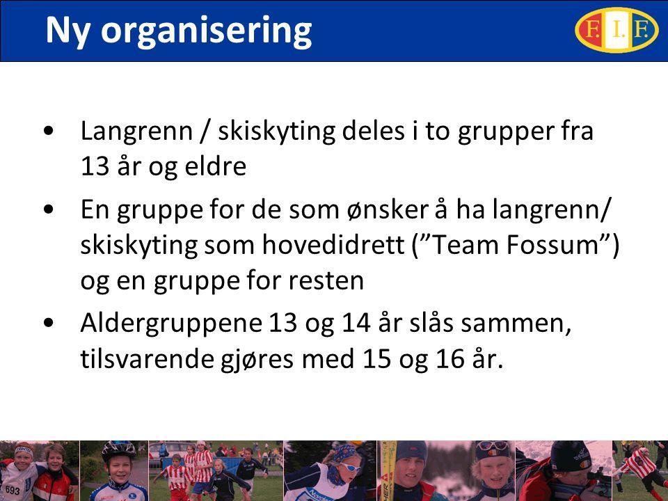 Ny organisering Langrenn / skiskyting deles i to grupper fra 13 år og eldre En gruppe for de som ønsker å ha langrenn/ skiskyting som hovedidrett ( Team Fossum ) og en gruppe for resten Aldergruppene 13 og 14 år slås sammen, tilsvarende gjøres med 15 og 16 år.
